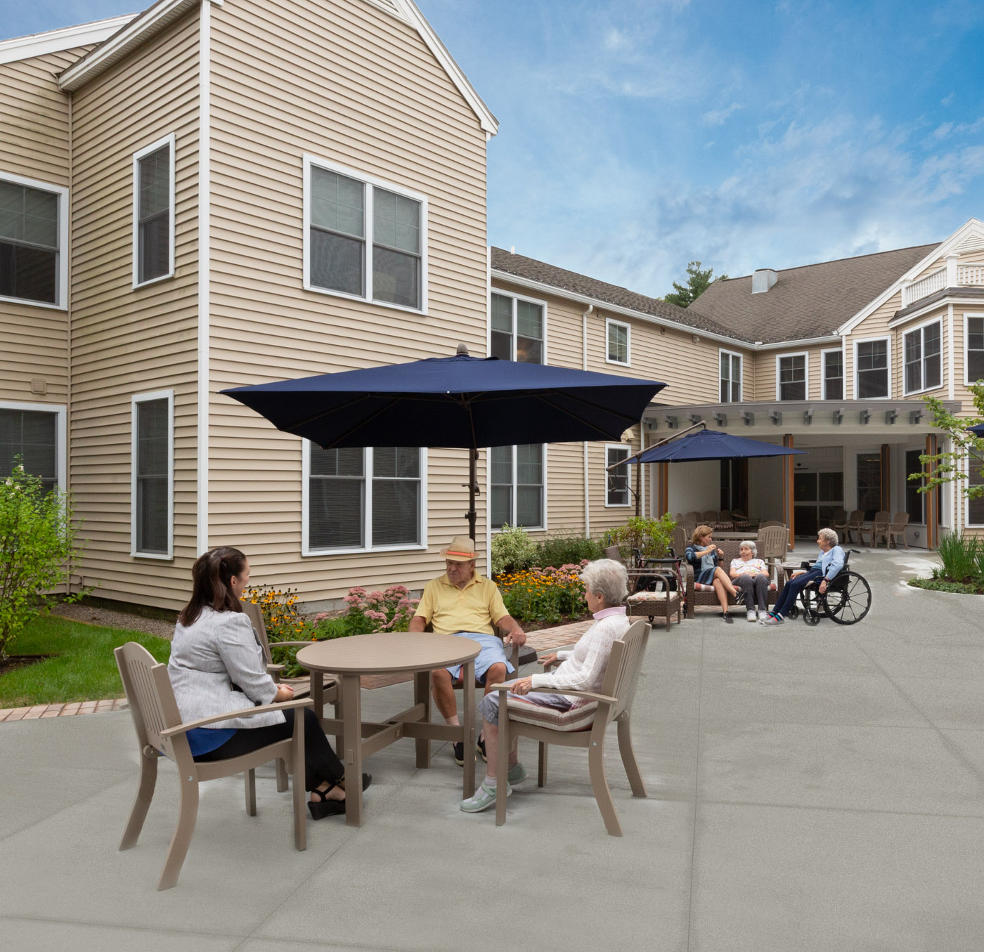 Residents at outdoor courtyard