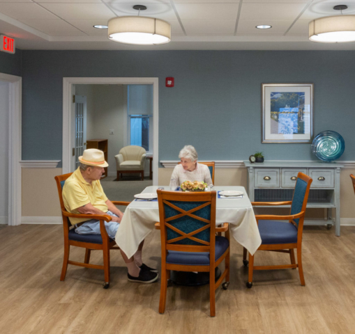 Senior couple in dining area