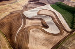 Palouse farmland aerial, Washington State